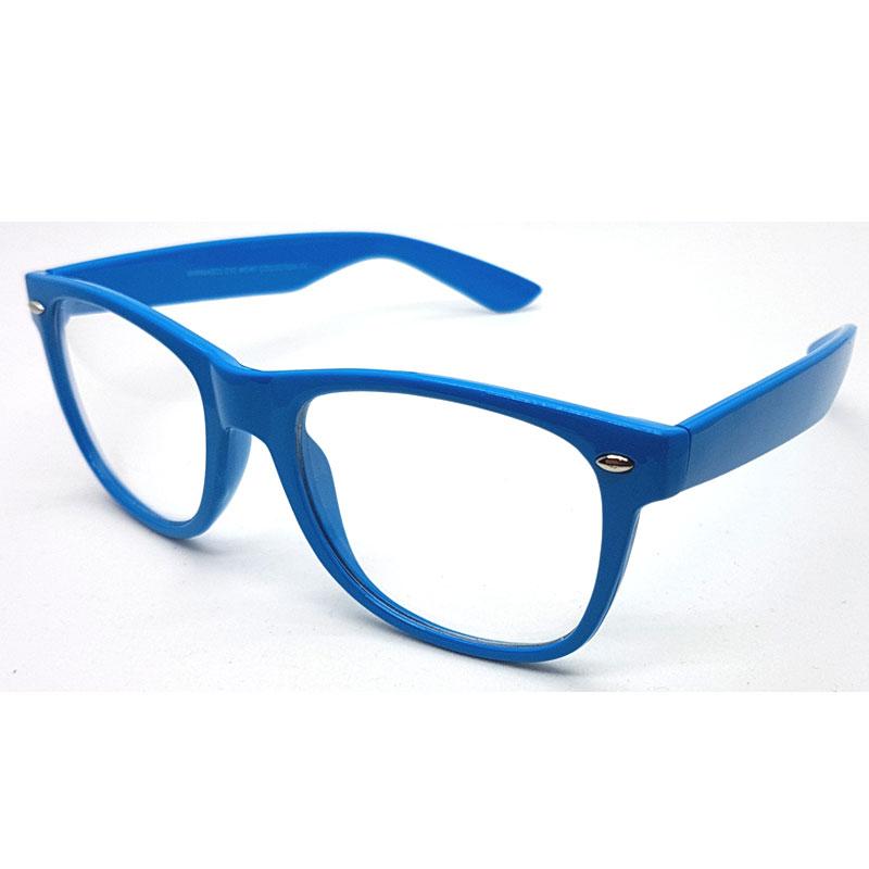 Smuk Wayfarer briller med klare glas uden styrke. blåt stel. MEGA lav pris! GV-01