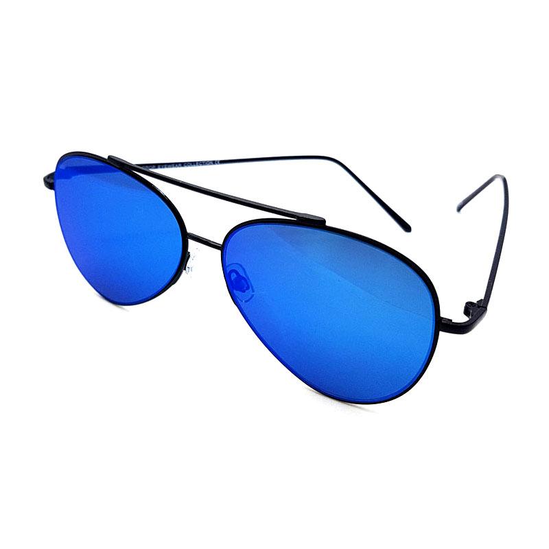 Aviator solbriller med flade spejlglas SortBlå