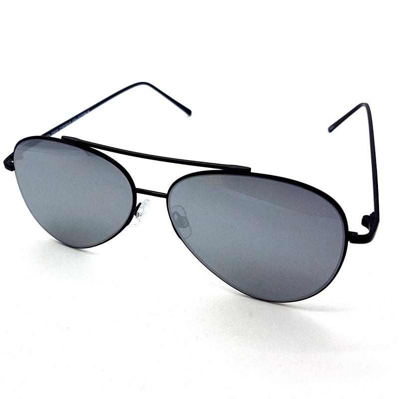 Aviator solbriller med flade spejlglas SortGrå