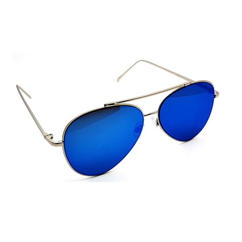 Aviator solbriller med flade spejlglas SølvBlå